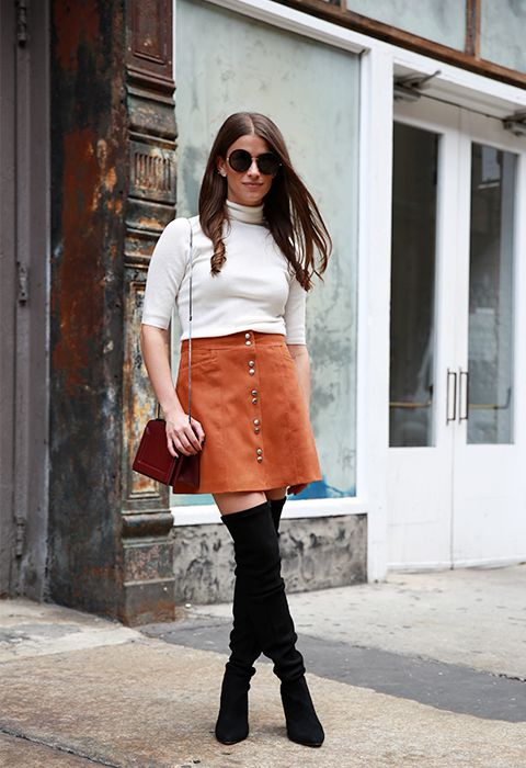 amanda weiner, suede button front skirt, tan orange skirt, short sleeve turtleneck sweater, over the knee thigh high boots, fall neutrals, fall work outfits