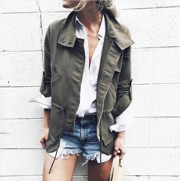 amry green jacket-army green jacket-cutoffs-white oxford-via happilygrey instagram