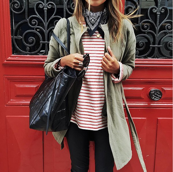 army green jacket-anorak-red striped shirt-stripes-hankerchief=bandana-bandana-layered accessories-pendant necklace-black skinnies-fall weekend outfit-via-sincerelyjules instagram