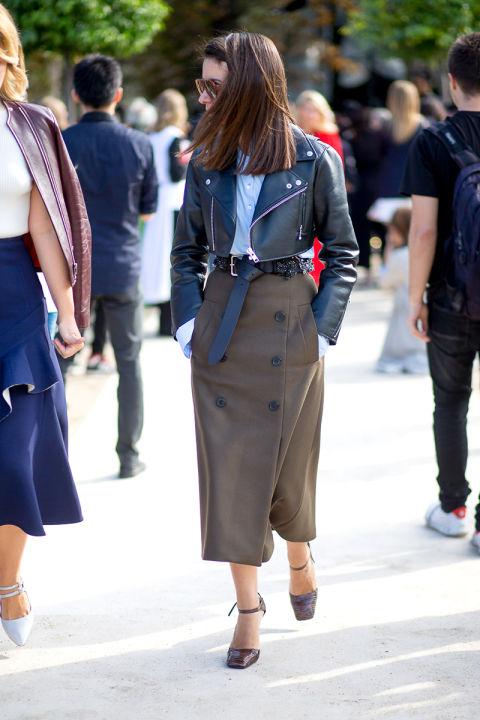 army green pencil skirt button front skirt cropped black leather moto jacket ankle strap heels belted fall neutrals classic natasha goldenberg hbz-street-style-paris-fashion week pfw-fall fashion