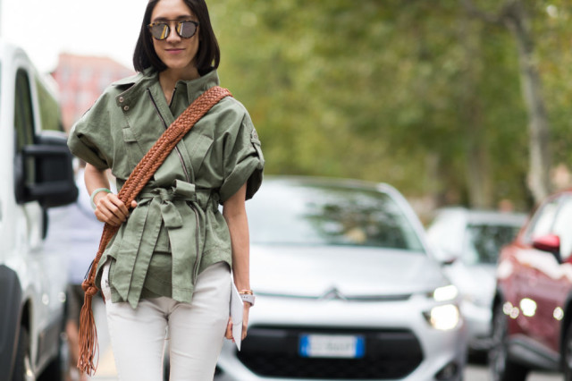 army jacket-eva chen-white pants-milan fashion week elle