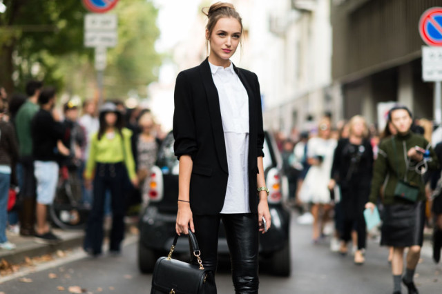 black and white-black bblazer white oxford shirt black leather skinnies-milan fashion week