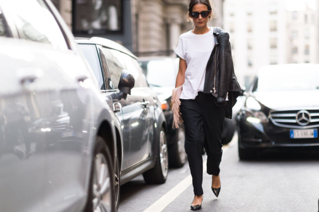 black and white black grousers-white tee blak moto jacket-milan fashion week elle