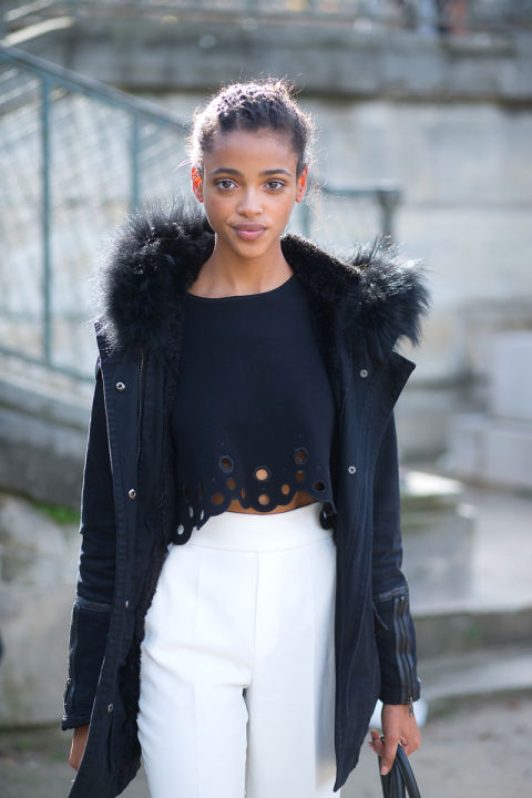 black and white navy white pants fall whites grommet cutout laser cut crop top parka model off duty style hbz-street-style-paris-fashion week pfw-fall fashion