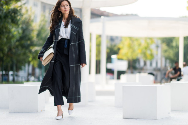 black and white-windowpane prints-white pumps-culottess-fall work outfit-milan fashion week elle