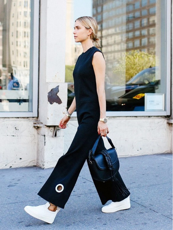 black cropped jupmsuit blal jumpsuit evening to day dressing night to day dressing white sneakers high tops, grommet fringe bag-look de pernille