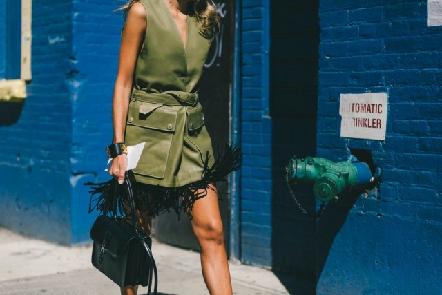 black fringe skirt-carwash pleats-army green leather vest-tie front shirt-leather vest-vest-army green-hermes cuff-nyfw-fall outfits-via-racked