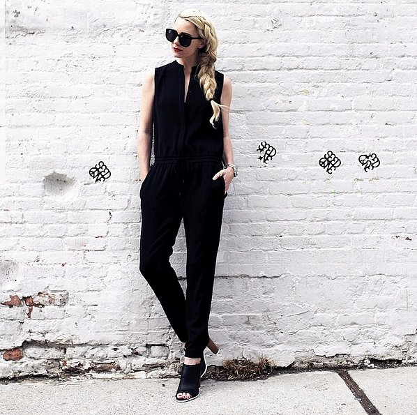 black jumpsuit - mules - night out - date night giong out - cocktail party -all black summer fall work via blaireadiebee instagram