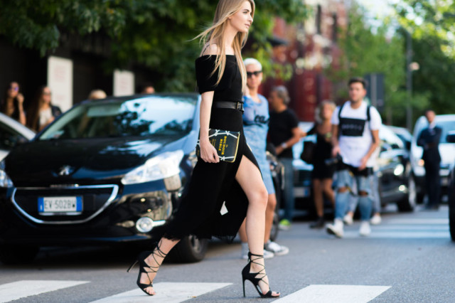 black off the shoulder maxi dress - leg slit -lace up heels-going out night out date night-milan fashion week street style-via elle.com