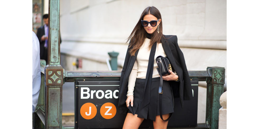 black shorts suit-work shorts-fall work outfits-skinny scarf-carwash pleats-skort-nyfw-via-hbz