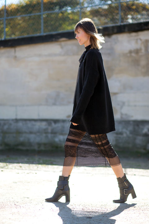 black stack heel booties ankle boots sheer lace all black fall coat fall work out anya ziourova hbz-street-style-paris-fashion week pfw-fall fashion