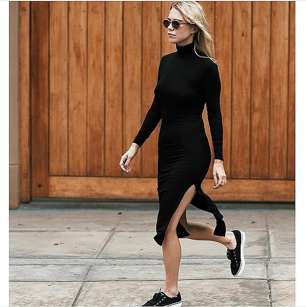 black turtleneck dress-black sneakers-dresses and sneakers-funnel neck mock neck-fall work weekend out-via-instagram alwaysjudging