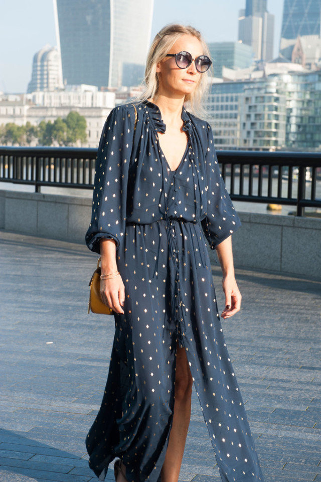 boho dress-printed fall maxi dress-fall dress-fall maxi dress-lfw-fall fashion-london fashion week street style-via-popsugar