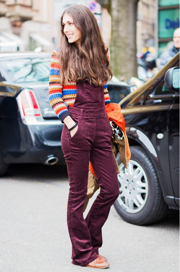burgundy overalls rainbow stripes striped sweater-fall colors fall colorblocking-style du monde corduroy