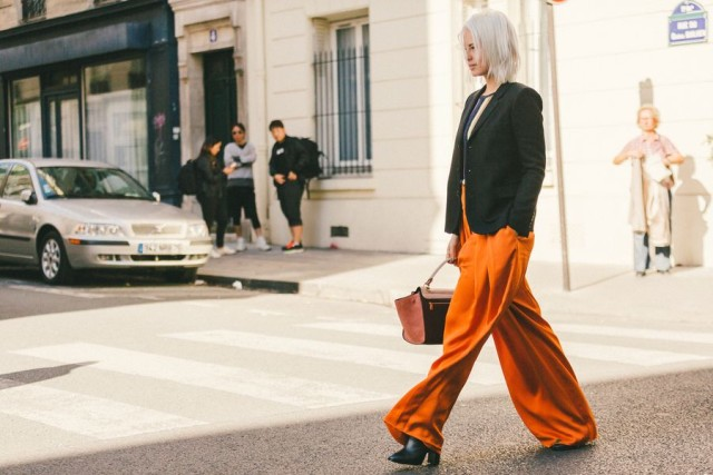 burnt orange fall work wide leg palazzo pants black blazer paris fashion week street style fall fashion racked