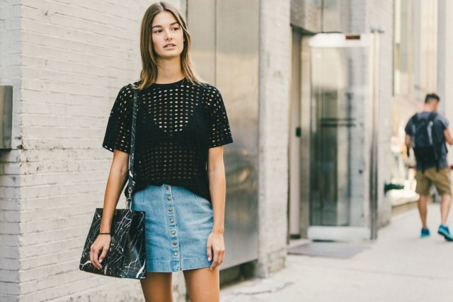 button front denim skirt-crochet top-sheer-model off duty style-going out -date night-nyfw-fall outfits-via-racked