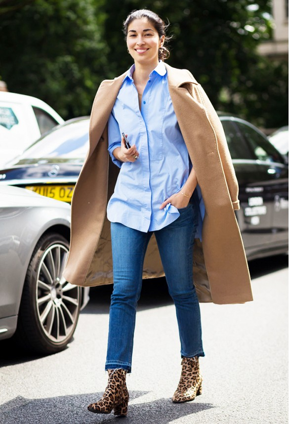 caroline-issa-cropped flares - leopard ankle booties - fall outfits - oxford mens oxford shirt - camel coat - via style du monde