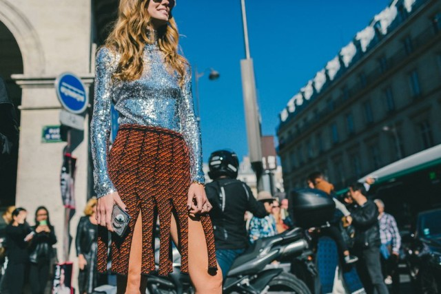 carwash pleats eye silver sequins daytime sequins evenign to day night to day orange burnt orange tweed black and orange paris fashion week street style fall fashion racked