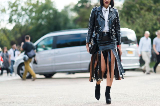 carwash pleats-sttudded black leather jacket-booties-black and whtie-western-western necklace-bow tie-lfw street styleelle.co