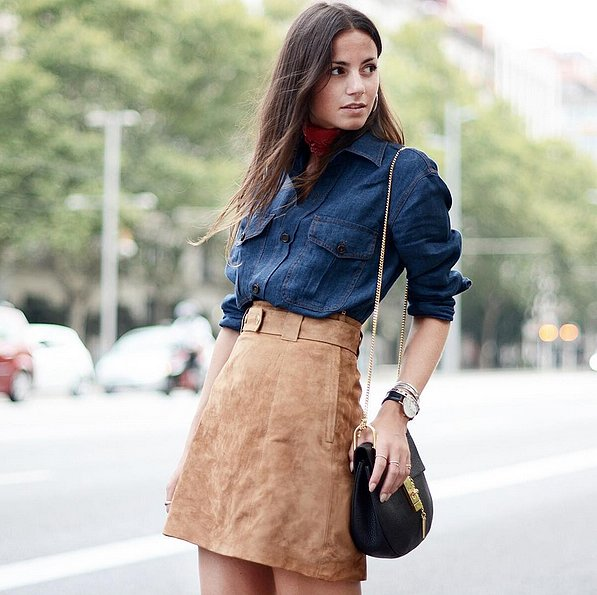 chambray denim shirt - suede skirt - fall - classic - 70s trend - via zinafashionvibe instagram