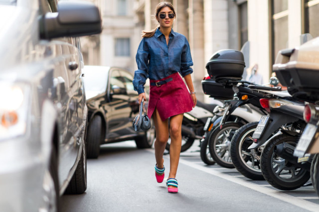 chambray shirt-burgundy suede mini skirt fall outfit-milan fashion week