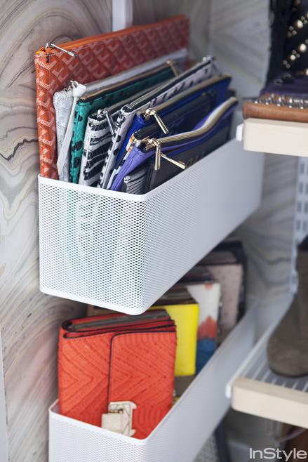 purse organization-store clutches in small baskets on closet walls or doors-closet organizing - closets closetful www rebecca minkoff closet designer celeb closets