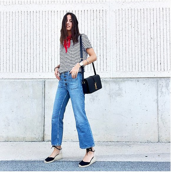 cropped flare jeans striped shirt bandana espadrilles summer fall weekend via zinafashionvibe instagram