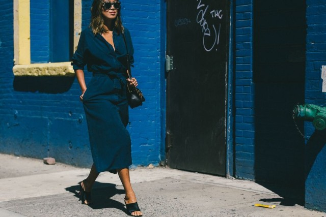 denim dress-denim wrap dress shirtdress-midi dress-mules-dark denim-fall dresses-fall work outfits-aimee song-nyfw-fall outfits-via-racked