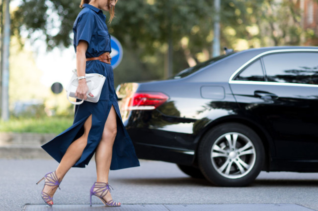 denim shirt dress-purple heels-beleted fall work outfit-milan fashion week street style-via elle.com