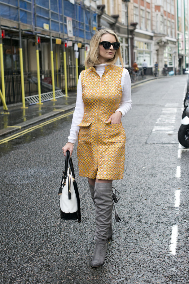 dress over turtleneck-fall dresses-fall prints-over the knee boots-tassles-turtleneck under dress-lfw-fall fashion-london fashion week street style-via-popsugar