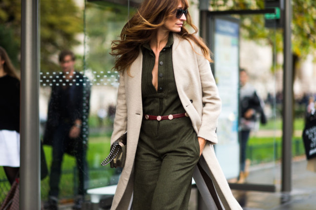 army green jumpsuit belted fall coat fall neutrals colors paris fashion week street style fall fashion