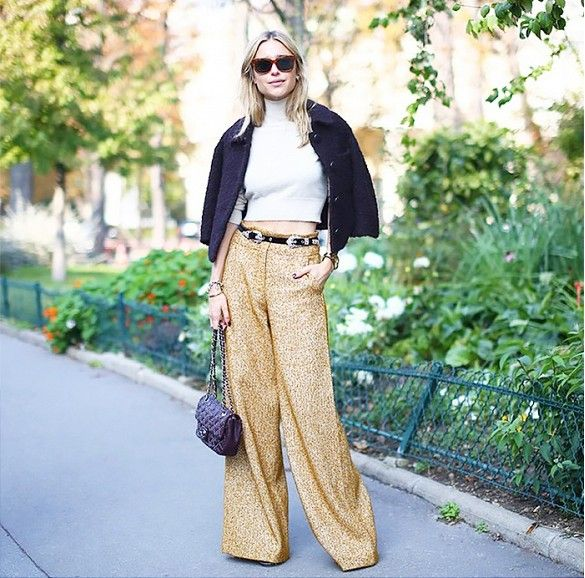 wide leg pants western belt crop top mock neck funnel neck layering fall style