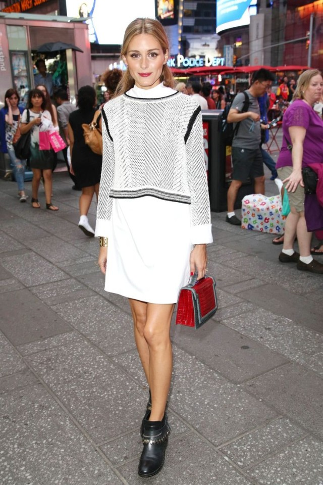 olivia palermo white shirt dress graphic textured cropped sweater sweater over dresses fringe moto ankle booties boots red bag cuff fall transitional dressing summer to fall white after labor day black and white work night out party