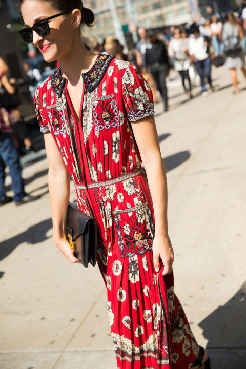 marie duenas jacobs, fall dresses, fall prints, fall printed maxi dress, red, nyfw street style cosmopolitan.com