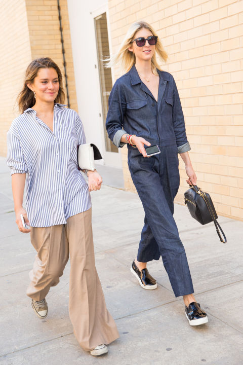 denim utility jumpsuit, oversized striped oxford shirt, khakis pajamas, menswear, sneakers, creepers, nyfw street style