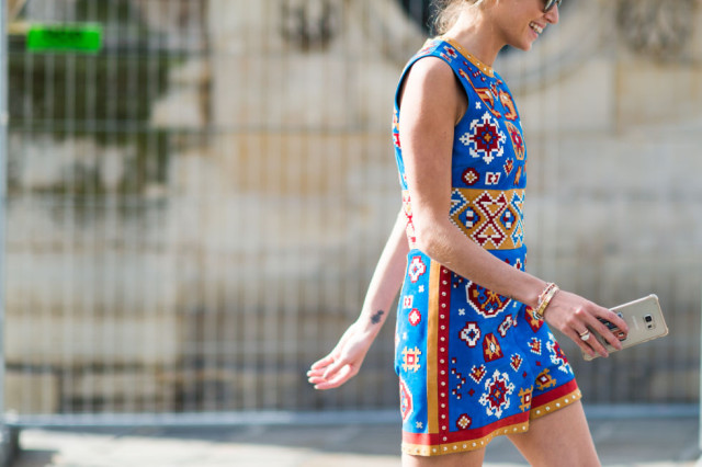 fall boho embroidered tribal prints -paris fashion week street style fall fashion elle