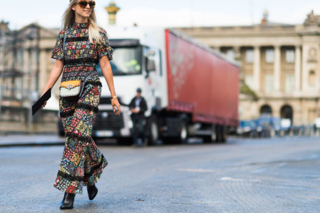 fall boho prints boho maxi dress patchwork prints -paris fashion week street style fall fashion elle