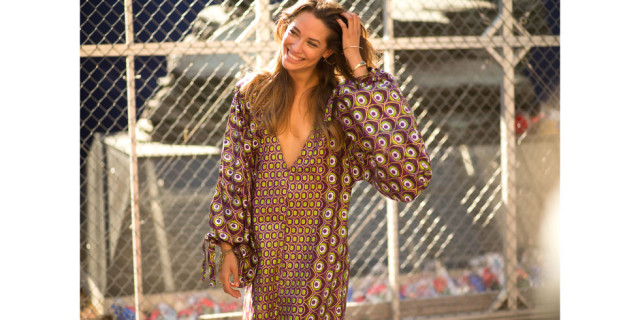 fall boho prints-maxi dress-poof sleeves-fall colors-prints-nyfw-via-hbz