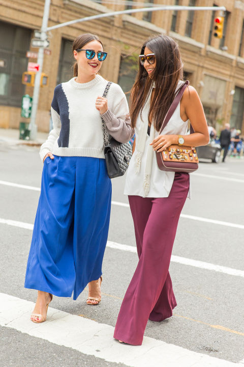 fall colors-bright pants-wide leg pants-burgundy-cobalt-sweater-fall outfit-fall work outfits-nyfw-cosmo-culottes