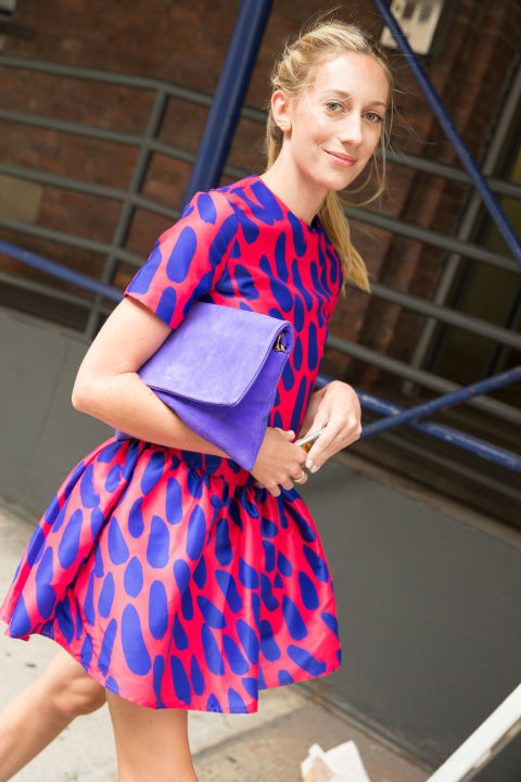fall dress printed dress-bright colors-pink-fall party wedding-summer to fall dressing -nyfw-cosmo