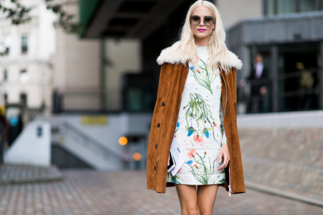 fall dresses-fall florals-suede jacket-fur-shearling-'70s-boho-poppy delevingne-lfw street style-elle.com