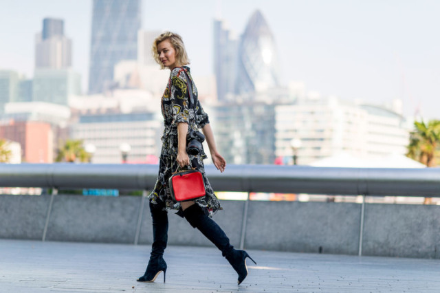fall dresses-fall prints-boho prints-fall bags-over the knee boots-black heeled boots-lfw street style-elle.com