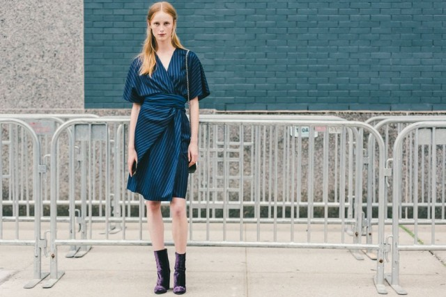 fall dresses-pinstripes-kimono sleeves-wrap dress-navy-purple velvet booties-mod booties-ankle boots-nyfw-fall outfits-via-racked