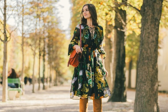fall florals boho fall dress burnt orange bag knee high tan suede boots boho dress prints lace front neckline top lace up paris fashion week street style fall fashion racked