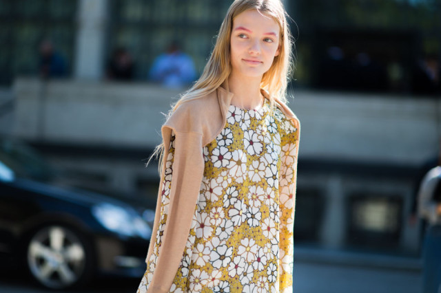 fall florals-milan fashion week street style-via elle.com-yellow-fall colors sweater over shoulders