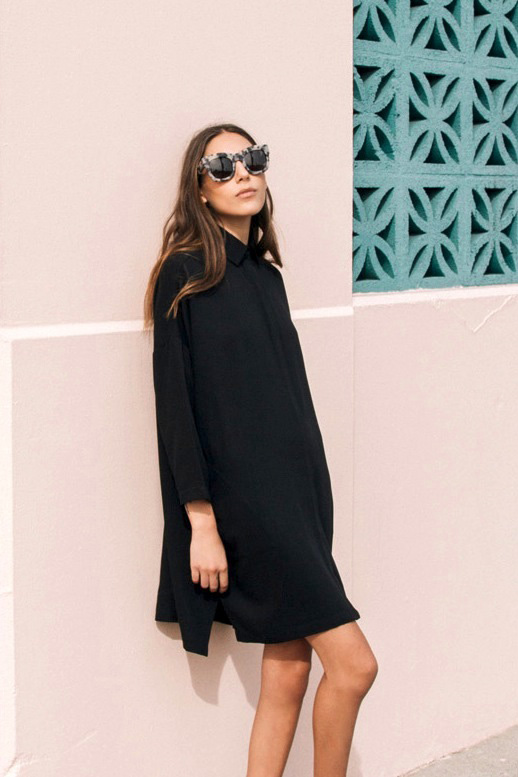 fall outfit-fall work outfit-sunglases-fall blakc shirt dress shirtdress lbd-simple via