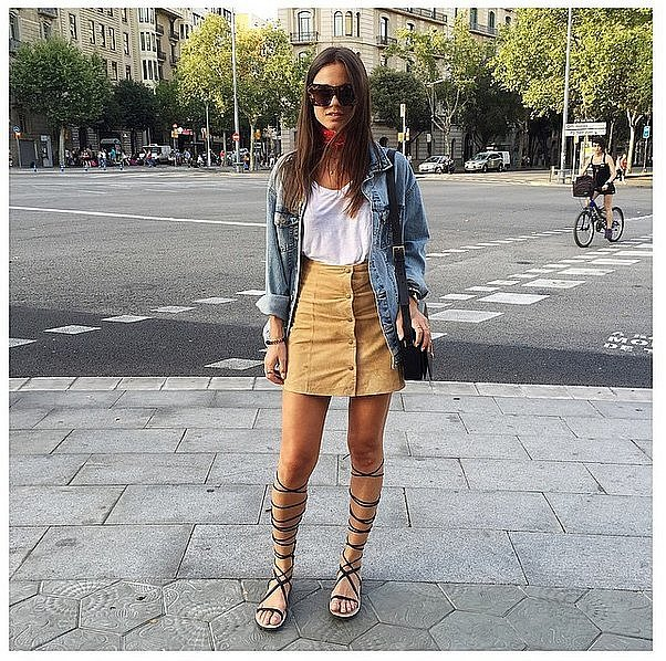 fall-outfits-denim-jacket-suede-button front skirt, -tall gladiator sandals-bandana-transtiional dressing-via