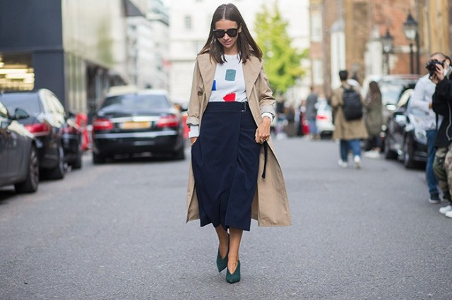wrap midi skirt, booties, ternch coat, primary colors navy skirt fall work outfit nyfw street style