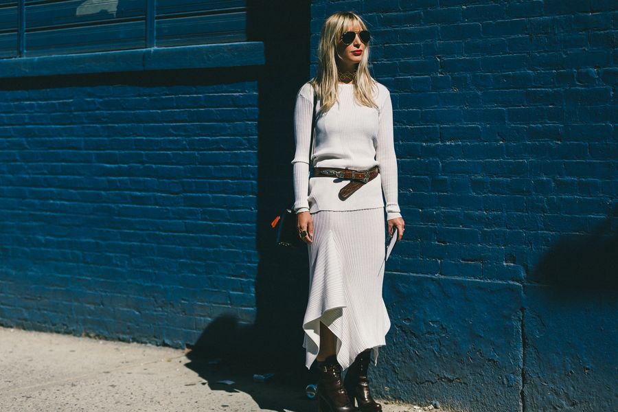 fall outfits-putty-offf white-grey-asymmetrical hankerchie hemline skirt-western belt-booties-fall outfits-work outfits-nyfw-fall outfits-via-racked
