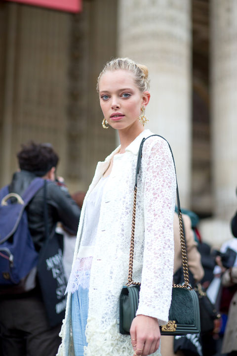 fall pastels lace jacket white lace off season pastel blue pants statement earrings chandelier earrings hbz-street-style-paris-fashion week pfw-fall fashion